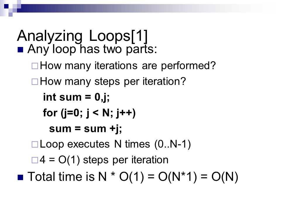 Analyzing Loops[1] Any loop has two parts: